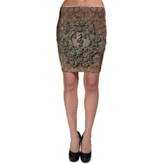 Elegant Clef With Floral Elements On A Background With Damasks Bodycon Skirts