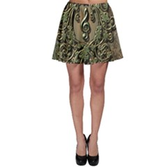 Elegant Clef With Floral Elements On A Background With Damasks Skater Skirts