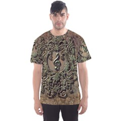 Elegant Clef With Floral Elements On A Background With Damasks Men s Sport Mesh Tees