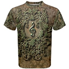 Elegant Clef With Floral Elements On A Background With Damasks Men s Cotton Tees