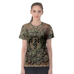 Elegant Clef With Floral Elements On A Background With Damasks Women s Sport Mesh Tees