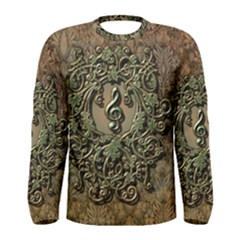 Elegant Clef With Floral Elements On A Background With Damasks Men s Long Sleeve T-shirts