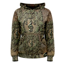Elegant Clef With Floral Elements On A Background With Damasks Women s Pullover Hoodies