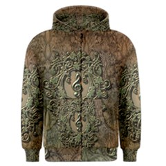 Elegant Clef With Floral Elements On A Background With Damasks Men s Zipper Hoodies