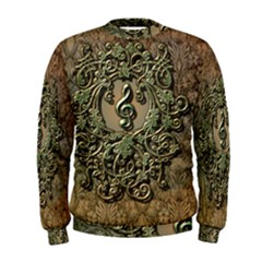 Elegant Clef With Floral Elements On A Background With Damasks Men s Sweatshirts