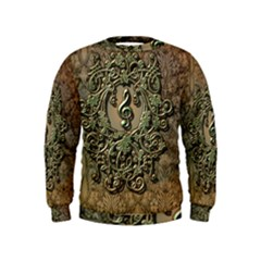 Elegant Clef With Floral Elements On A Background With Damasks Boys  Sweatshirts