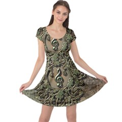 Elegant Clef With Floral Elements On A Background With Damasks Cap Sleeve Dresses