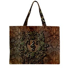 Elegant Clef With Floral Elements On A Background With Damasks Zipper Tiny Tote Bags