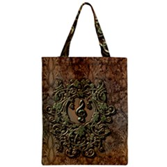 Elegant Clef With Floral Elements On A Background With Damasks Zipper Classic Tote Bags
