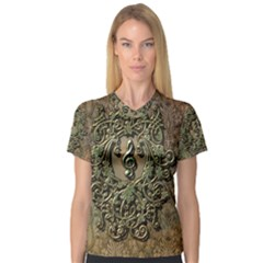 Elegant Clef With Floral Elements On A Background With Damasks Women s V-Neck Sport Mesh Tee