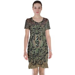 Elegant Clef With Floral Elements On A Background With Damasks Short Sleeve Nightdresses
