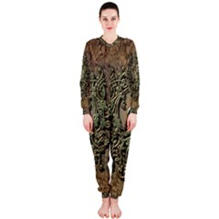 Elegant Clef With Floral Elements On A Background With Damasks OnePiece Jumpsuit (Ladies)