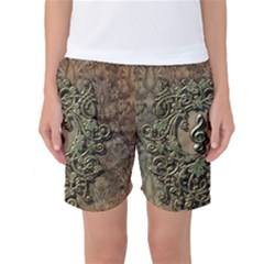 Elegant Clef With Floral Elements On A Background With Damasks Women s Basketball Shorts