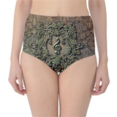 Elegant Clef With Floral Elements On A Background With Damasks High-Waist Bikini Bottoms