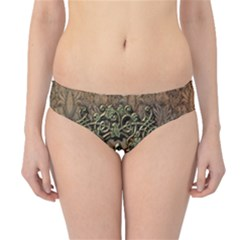 Elegant Clef With Floral Elements On A Background With Damasks Hipster Bikini Bottoms