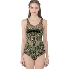 Elegant Clef With Floral Elements On A Background With Damasks Women s One Piece Swimsuits