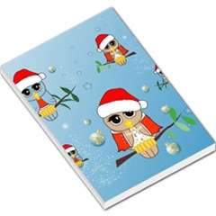 Funny, Cute Christmas Owls With Snowflakes Large Memo Pads