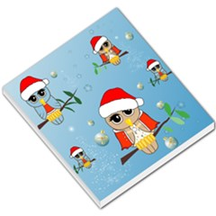 Funny, Cute Christmas Owls With Snowflakes Small Memo Pads