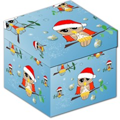 Funny, Cute Christmas Owls With Snowflakes Storage Stool 12