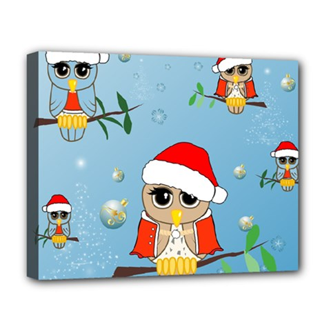 Funny, Cute Christmas Owls With Snowflakes Deluxe Canvas 20  x 16