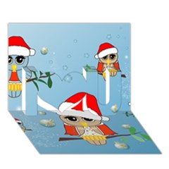 Funny, Cute Christmas Owls With Snowflakes I Love You 3d Greeting Card (7x5)