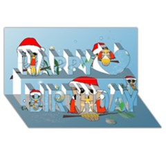 Funny, Cute Christmas Owls With Snowflakes Happy Birthday 3d Greeting Card (8x4)