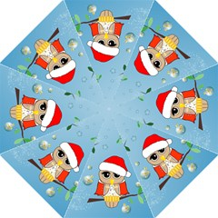 Funny, Cute Christmas Owls With Snowflakes Golf Umbrellas