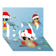 Funny, Cute Christmas Owls With Snowflakes BOY 3D Greeting Card (7x5)
