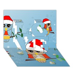 Funny, Cute Christmas Owls With Snowflakes Love 3d Greeting Card (7x5)