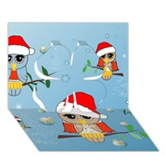 Funny, Cute Christmas Owls With Snowflakes Clover 3d Greeting Card (7x5)