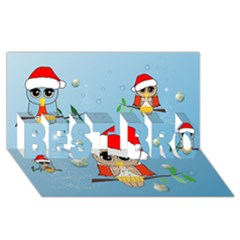 Funny, Cute Christmas Owls With Snowflakes Best Bro 3d Greeting Card (8x4)