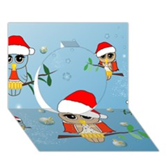 Funny, Cute Christmas Owls With Snowflakes Circle 3D Greeting Card (7x5)