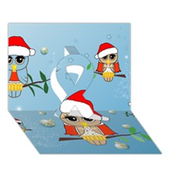 Funny, Cute Christmas Owls With Snowflakes Ribbon 3D Greeting Card (7x5)