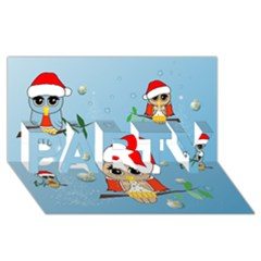 Funny, Cute Christmas Owls With Snowflakes PARTY 3D Greeting Card (8x4)