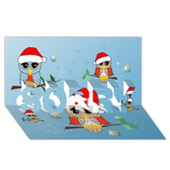 Funny, Cute Christmas Owls With Snowflakes SORRY 3D Greeting Card (8x4)
