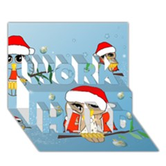 Funny, Cute Christmas Owls With Snowflakes WORK HARD 3D Greeting Card (7x5)