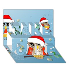 Funny, Cute Christmas Owls With Snowflakes Take Care 3d Greeting Card (7x5)