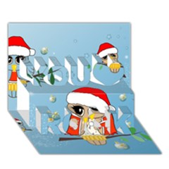 Funny, Cute Christmas Owls With Snowflakes You Rock 3d Greeting Card (7x5)