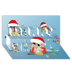 Funny, Cute Christmas Owls With Snowflakes Merry Xmas 3d Greeting Card (8x4)
