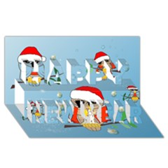 Funny, Cute Christmas Owls With Snowflakes Happy New Year 3D Greeting Card (8x4)