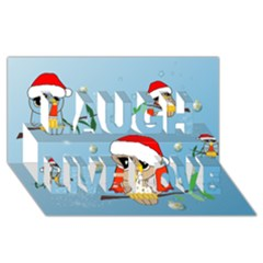Funny, Cute Christmas Owls With Snowflakes Laugh Live Love 3D Greeting Card (8x4)