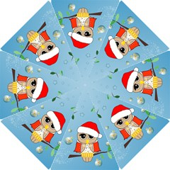 Funny, Cute Christmas Owls With Snowflakes Hook Handle Umbrellas (Small)
