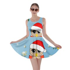 Funny, Cute Christmas Owls With Snowflakes Skater Dresses