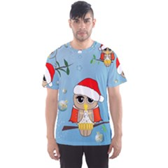 Funny, Cute Christmas Owls With Snowflakes Men s Sport Mesh Tees