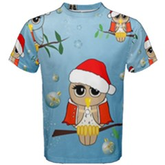 Funny, Cute Christmas Owls With Snowflakes Men s Cotton Tees