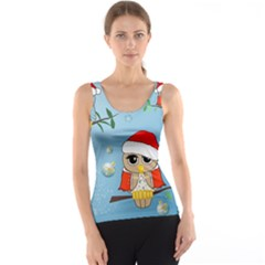 Funny, Cute Christmas Owls With Snowflakes Tank Tops