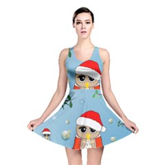 Funny, Cute Christmas Owls With Snowflakes Reversible Skater Dresses
