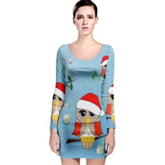 Funny, Cute Christmas Owls With Snowflakes Long Sleeve Bodycon Dresses