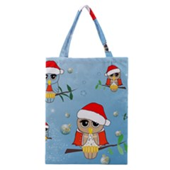 Funny, Cute Christmas Owls With Snowflakes Classic Tote Bags