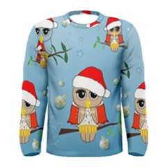 Funny, Cute Christmas Owls With Snowflakes Men s Long Sleeve T-shirts
